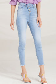 Amia Diagonal Button Jeans by STORETS