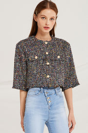 Zaria Tweed Round Neck Jacket