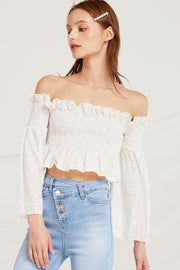 Corinne Smock Bardot Crop Top by STORETS