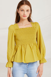 Joselyn Smocked Flounce Hem Top by STORETS