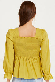 Joselyn Smocked Flounce Hem Top