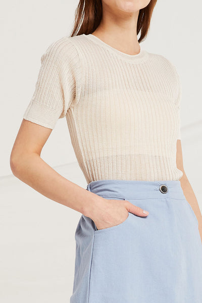 Aya Sheer Rib Knit Top by STORETS