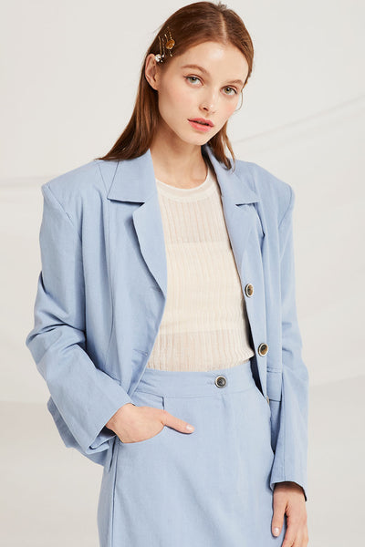 Hailee Linen Crop Jacket by STORETS