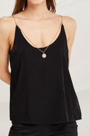 Dalary Satin Cami Top w/ Necklace Chain