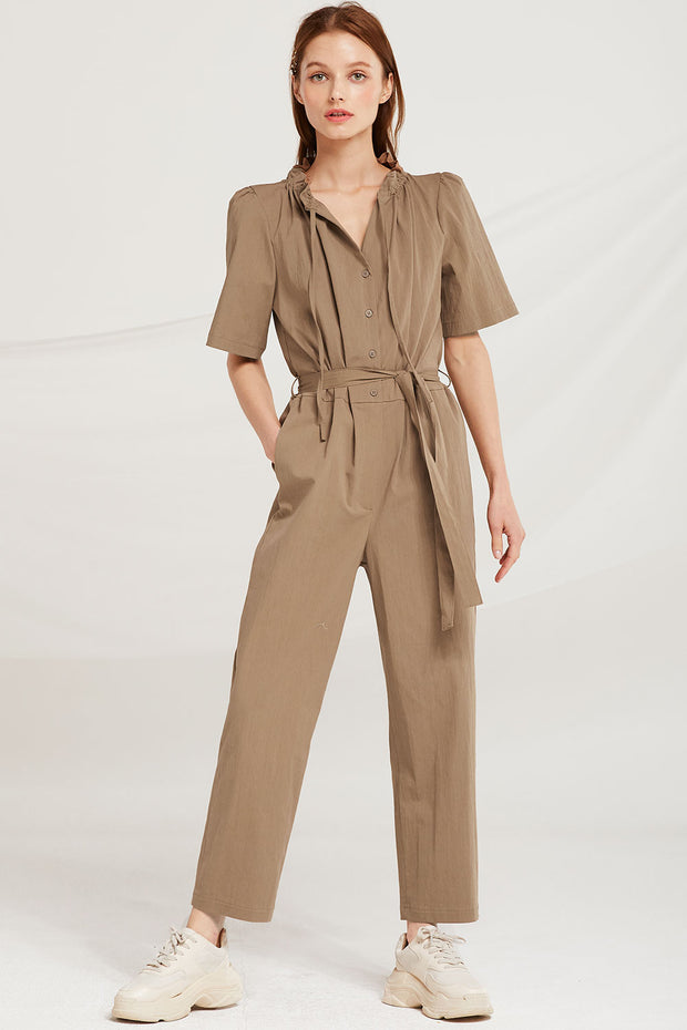Laylah Drawstring Neck Jumpsuit by STORETS