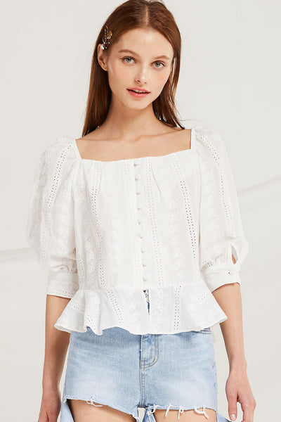Jewel Flounce Hem Blouse by STORETS