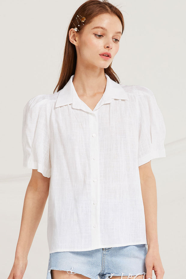 Louise Linen Puff Sleeve Shirt by STORETS