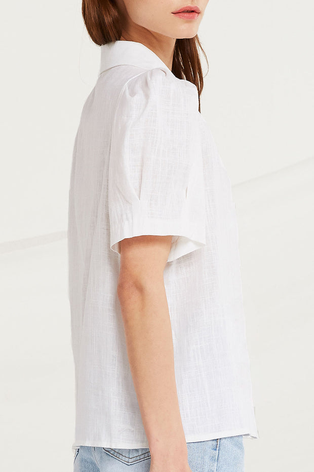 Louise Linen Puff Sleeve Shirt