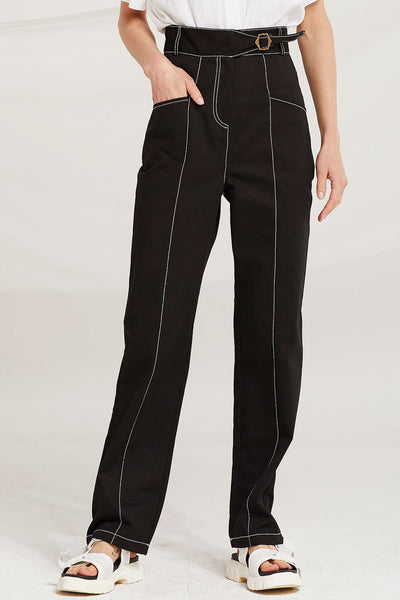 Delphine Contrast Stitch Pants by STORETS