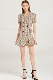 Kaya Plaid Check Blazer Dress