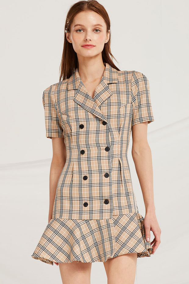Kaya Plaid Check Blazer Dress by STORETS