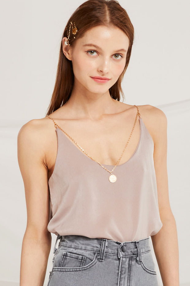 Dalary Satin Cami Top w/ Necklace Chain by STORETS