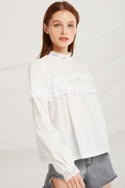 Sky Pintuck Yoke Blouse by STORETS