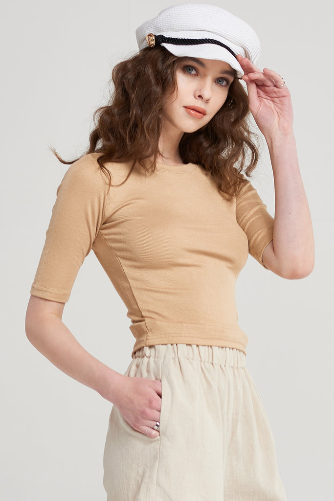Dacey Round Neck Cropped T-shirt