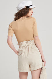 Raquel Banded Ramie Shorts