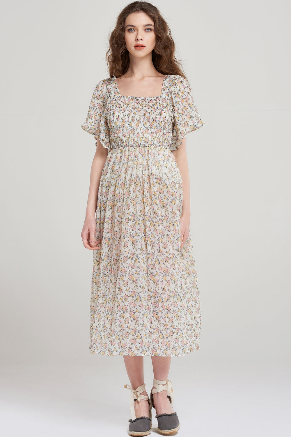 Jin Floral Flirty Sleeve Dress