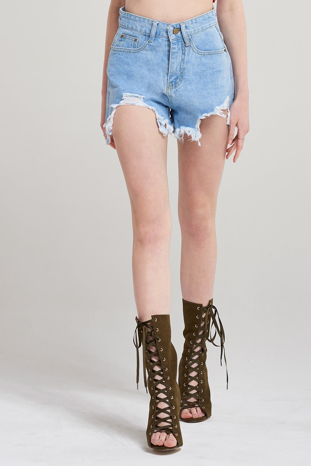 Casey Front Cut Ripped Denim Shorts-Skyblue