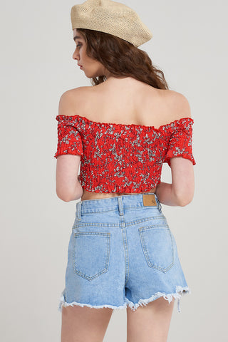 Bethany Floral Off Shoulder Crop Top