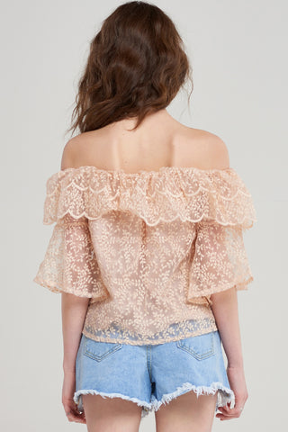 Kayleigh Seamed Lace Off Blouse