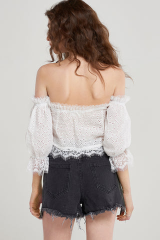 Paige Laced Corset Off Shoulder Blouse