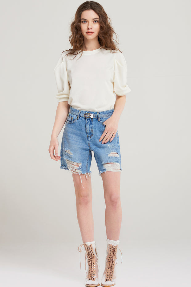 Kaia Ripped Denim Shorts