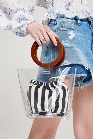 Clear Layer Stripe Pouch Bag