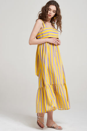 Xanna Back Ribbon Striped Dress