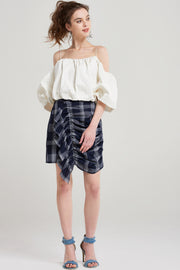 storets.com Skeeta Check Shirring Skirt
