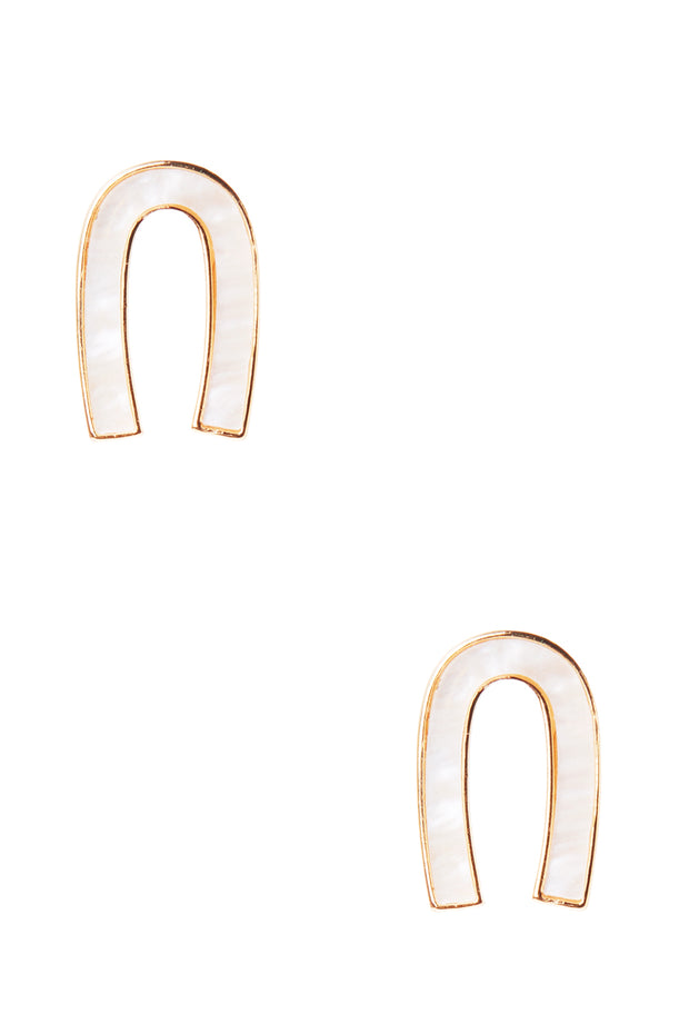 Horseshoe Marble Earrings