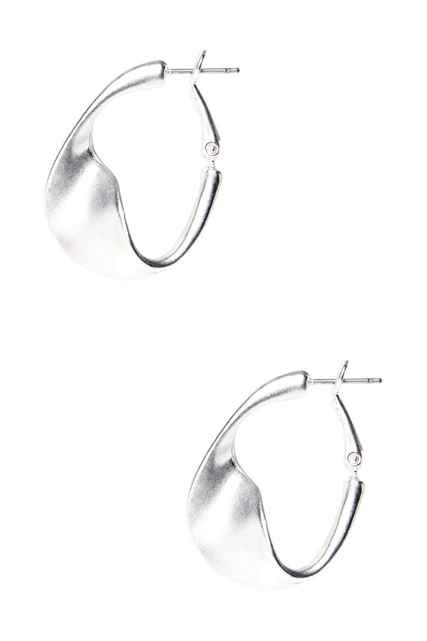 Silver Bent Circle Earrings
