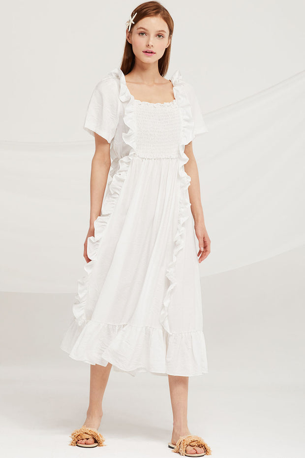 Eliza Ruffle Trim Smocked Dress by STORETS