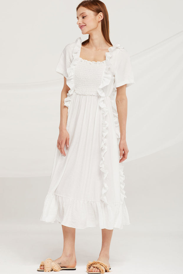 Eliza Ruffle Trim Smocked Dress