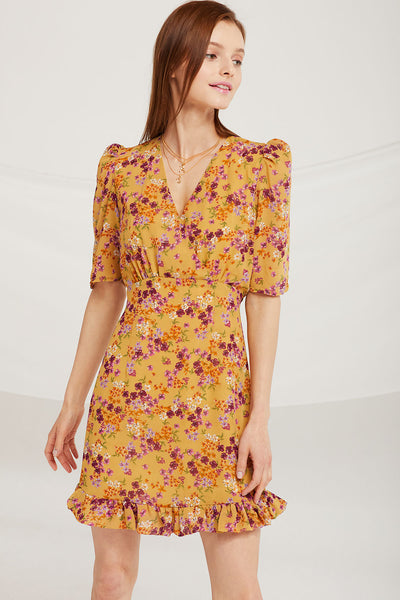 Eleanor Ruffle Hem Floral Dress by STORETS