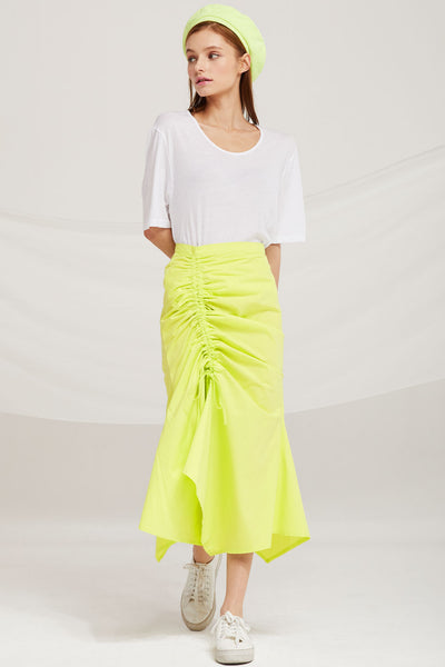Everly Ruched Side Midi Skirt by STORETS