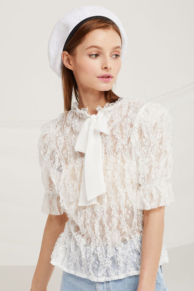 Piper Sheer Lace Frill Blouse by STORETS