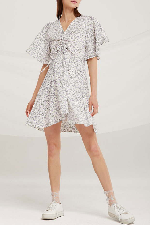 Layla Ruched Drawstring Floral Dress by STORETS