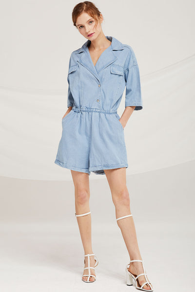 Camila Denim Romper by STORETS