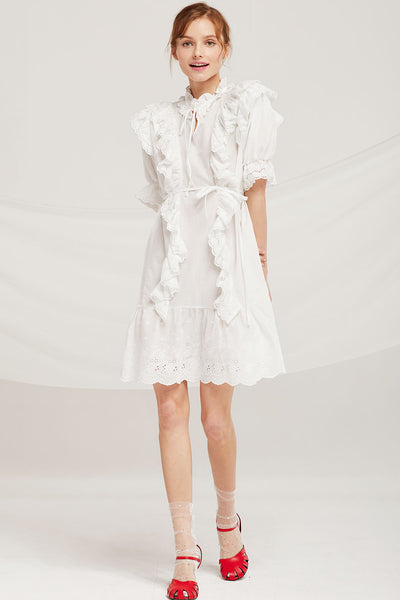 Lily Eyelet Lace Ruffle Dress by STORETS