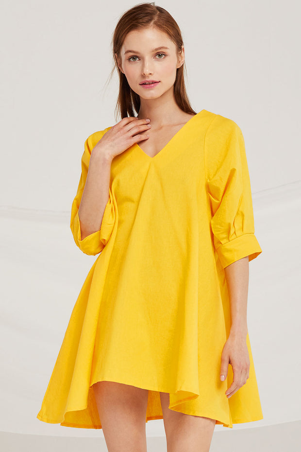 Isabella V-Neck Puff Sleeve Dress