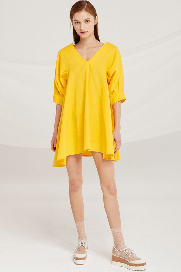 Isabella V-Neck Puff Sleeve Dress by STORETS
