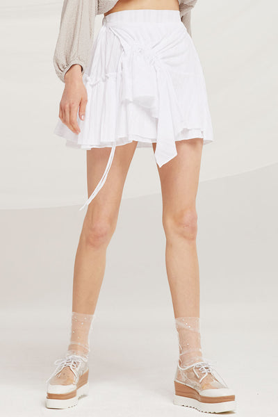 Kaylee Asymmetric Ruched Floaty Skirt by STORETS