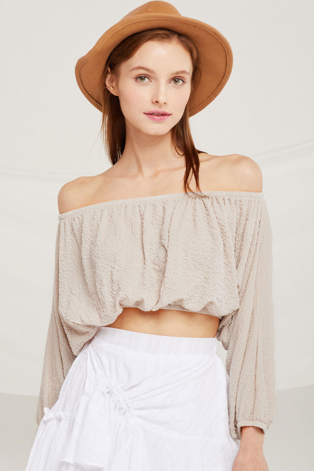 Hailey Textured Off Shoulder Crop Top by STORETS