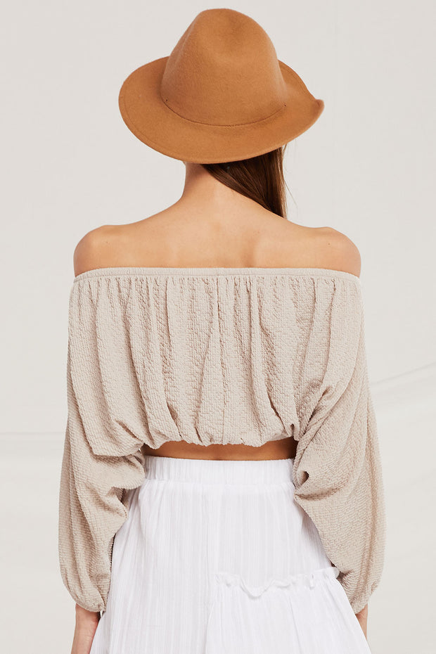 Hailey Textured Off Shoulder Crop Top