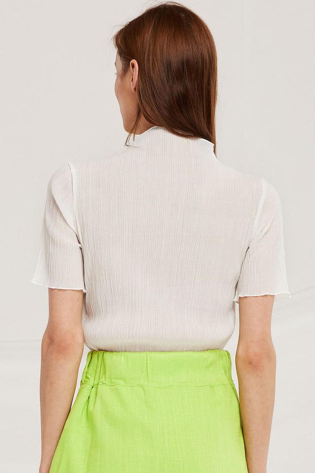 Naomi Crinkle Mock Neck Top