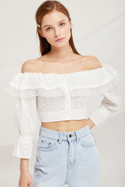 Samantha Eyelet Lace Crop Blouse by STORETS