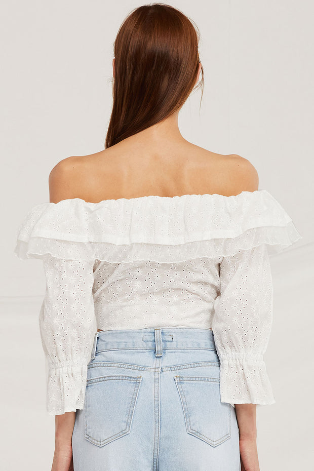 Samantha Eyelet Lace Crop Blouse