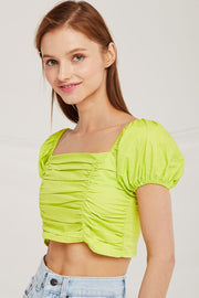 Anna Puff Sleeve Crop Top