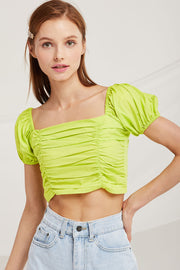 Anna Puff Sleeve Crop Top by STORETS