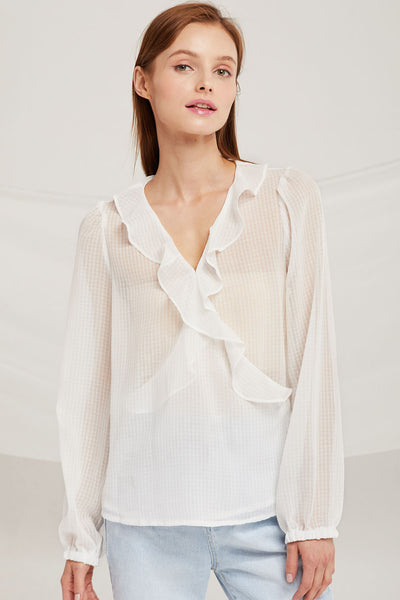 Genesis Ruffle Plunge Wrap Blouse by STORETS
