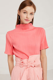 Naomi Crinkle Mock Neck Top by STORETS
